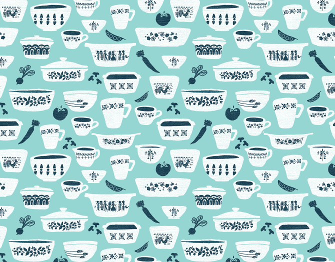 vintage kitchen  jenna russelle illustration and surface pattern, Kitchen design