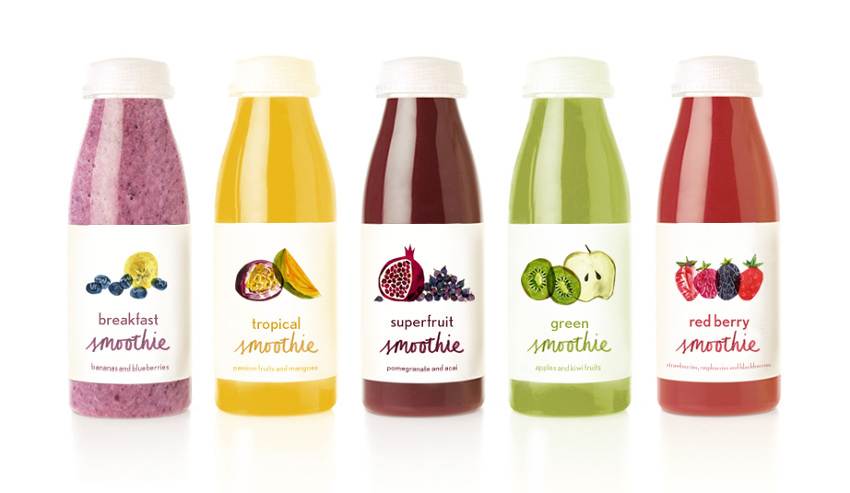 Speculative packaging design for fruit smoothies: rachaelhorner.co.uk/Fruit-Smoothies